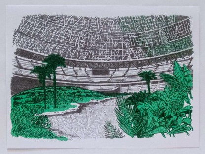 """Dystopian Astrodome"" riso art print showing the inside of the astro dome overgrown with plants"