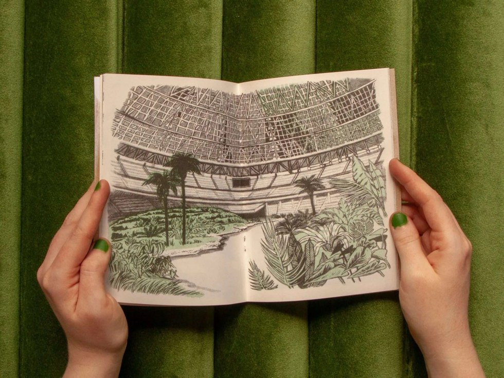 """Brackish"" zine inner page detail showing a dystopian, overgrown astrodome filled with swampy plants"