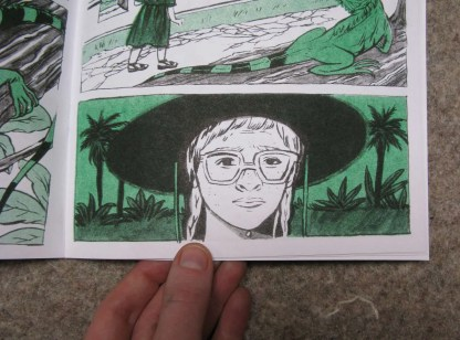 """Crypt Iguana"" risograph comic and zine inner page detail showing a woman observing iguanas in a wide brimmed hat"