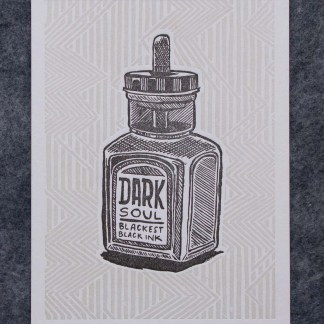 """Dark Soul"" letterpress art print with an illustration of an ink bottle that reads Dark Soul Blackest Black Ink on a lined background"