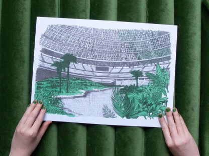 """Dystopian Astrodome"" handheld riso art print showing the inside of the astro dome overgrown with plants"