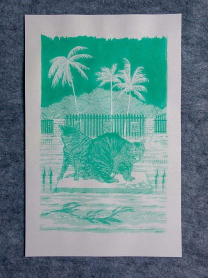 """""""Desperate and Fearful Creatures"""" risograph art print and takeaway showing cats trapped by rising flood waters on a brick pillar"""