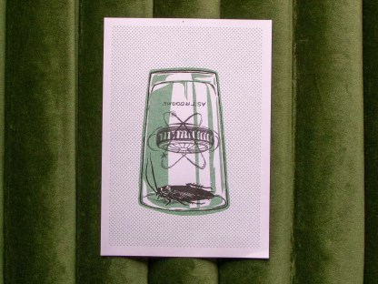 Image of 'Roach Trap' risograph art print. Shows a cockroach trapped under an astrodome pint glass.