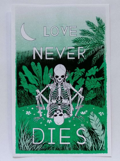 Risograph poster Love Never Dies by Mystic Multiples with skeleton sex