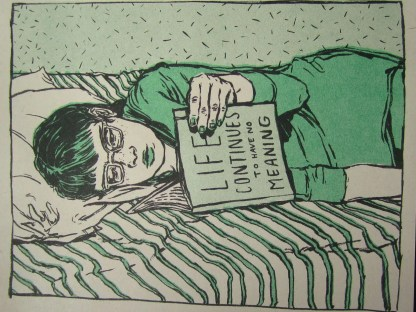 """Morose Reads"" risograph art print detail of an adult woman reading a book titled ""Life Continues to Have No Meaning"" on a bed"