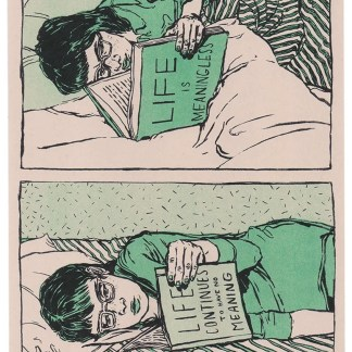 """Morose Reads"" risograph art print comic showing a woman continuing to read books about the meaningless of life into adulthood"