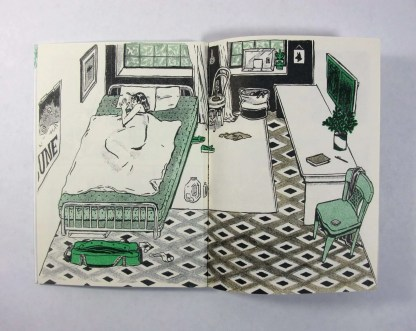 """Only Humid"" risograph zine inner page detail showing a bedroom with a woman sleeping in a bed"