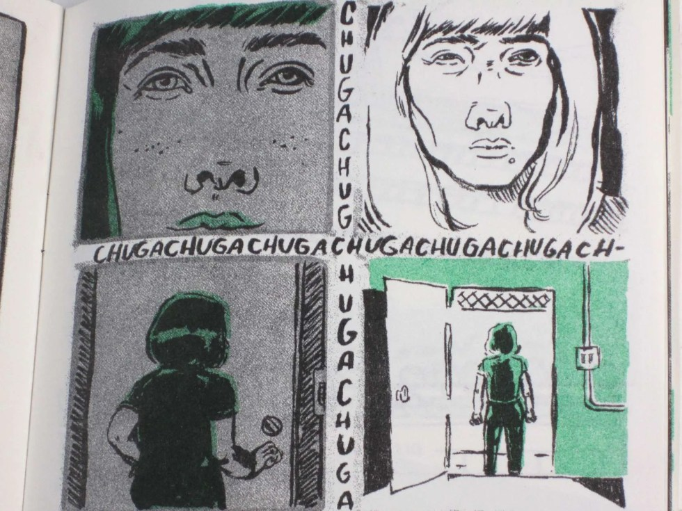 """Cry Me a River II"" risograph zine inner detail of faces and chuga chuga sound effect"