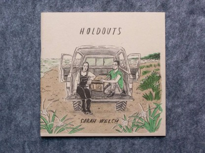 """Holdouts"" risograph zine detail of front cover with a pair and generator in the back of a truck on the beach"
