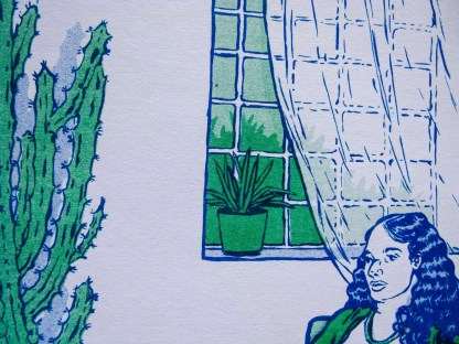 """Telepathy"" risograph art print zoomed in to show window details and potted succulent on window ledge"