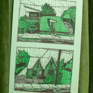 """Sudden Downpour"" riso art print showing two houses from the street during a rainstorm"