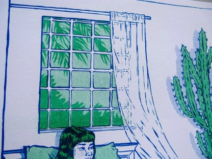 """Telepathy"" risograph art print zoomed in to show window details and foilage outside"