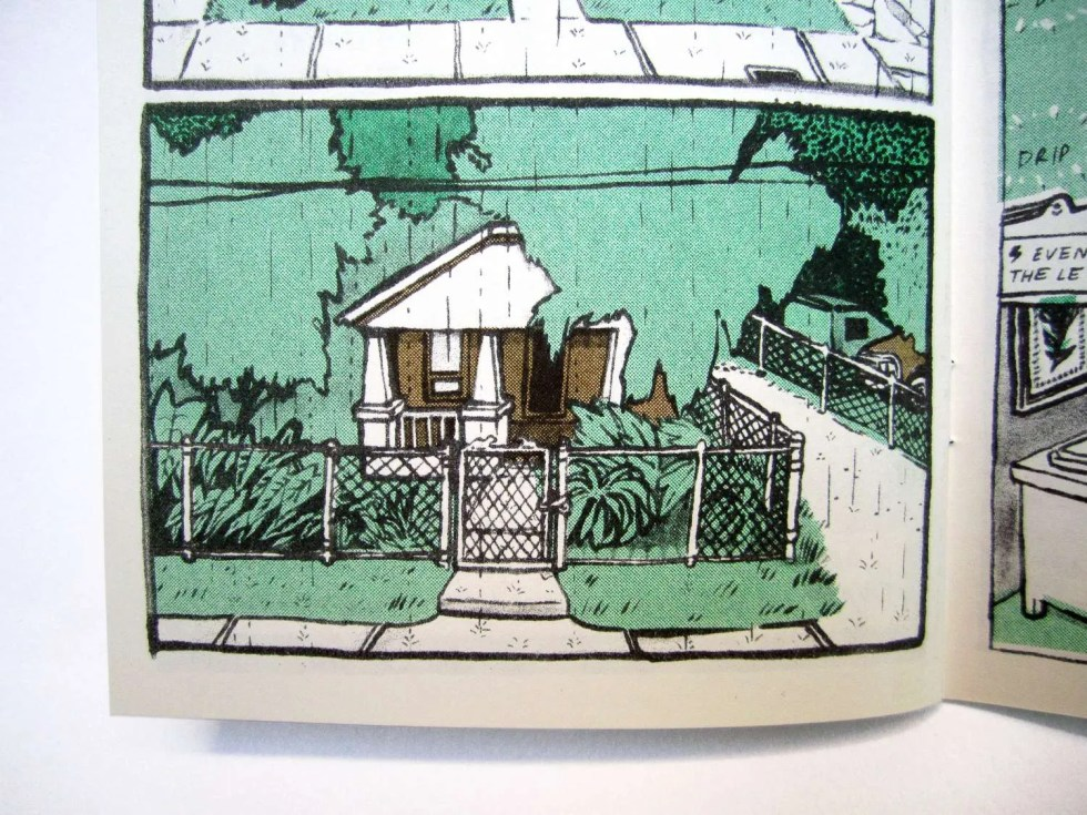 Endless Monsoon IV: Very Pleasant Transit Center inner page detail with a house that has an overgrown yard of plants