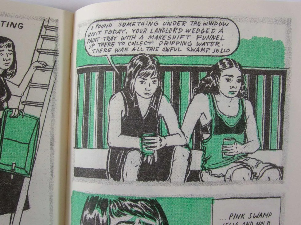 """Cry Me a River"" risograph comic inner detail oftwo women sitting on a porch talking about swamp mold"