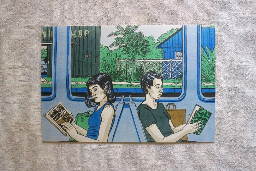Art of two women on train reading comics