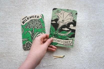 Green Milkweed and Moonflower Seeds art prints