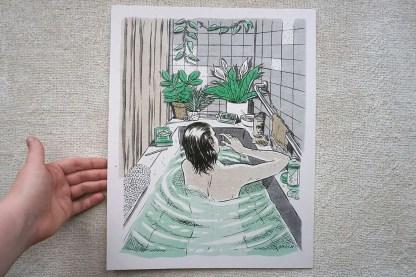 Art of woman in bathtub
