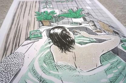 Art of woman in bathtub closeup