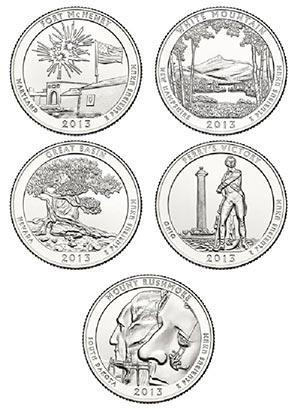 2013 Natl. Parks Qtrs. 5v D Mint for sale at Mystic Stamp