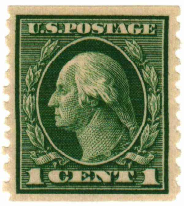1914 1c Washington Green Mystic Stamp Company
