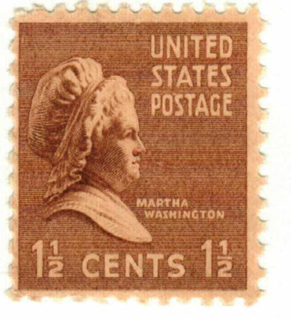 1938 1 2c Martha Washington Brown Mystic