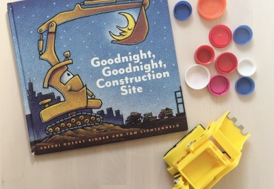 Goodnight Goodnight Construction Truck Story Time for Toddlers and Preschoolers Digger Color Sort with Loose Parts