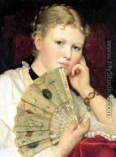 Girl with a Fan - Ladislas Wladislaw von Czachorski