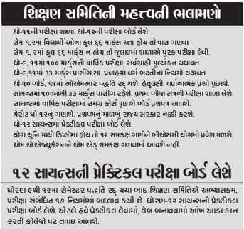 Important Suggestions/rules By Gujarat Education Board For