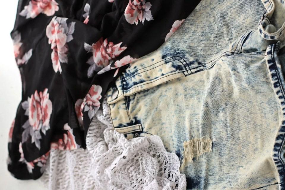 lace top denim shorts