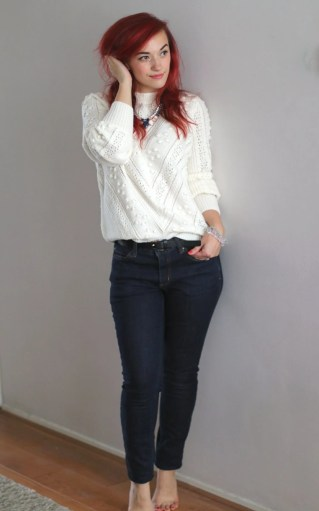 midrise navy jeans autumn outfit