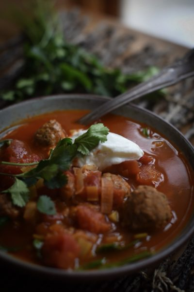 Spicy Chorizo Meatball Soup