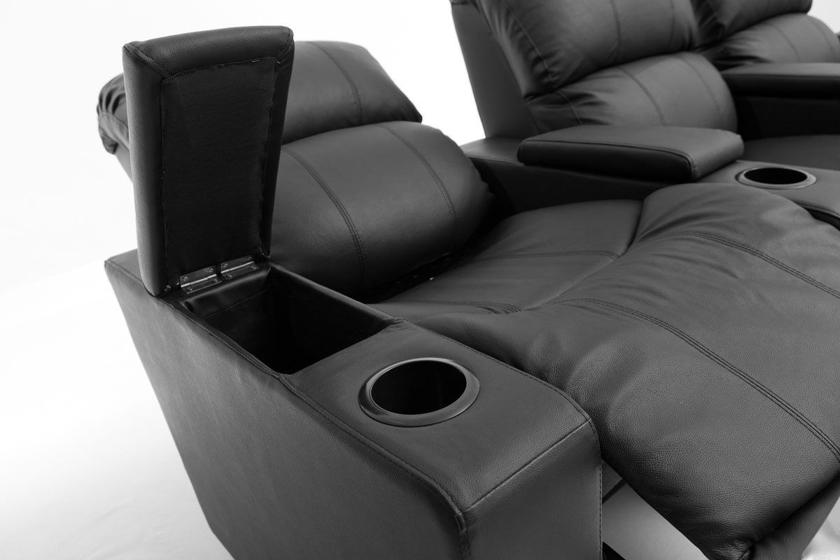 sofa armrest drink holder vine brown leather ebay sophie 3 seater home theatre recliner lounge