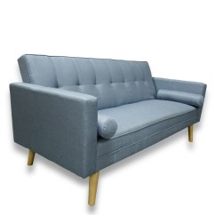 Fold Down Sofa Sleeper Small With Storage Amy Brand New Blue Or Grey Fabric Click Clack Bed