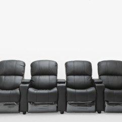 4 Seater Recliner Sofa Beach Style Sleeper Sofas Sophie Black Leather Home Theatre Lounge