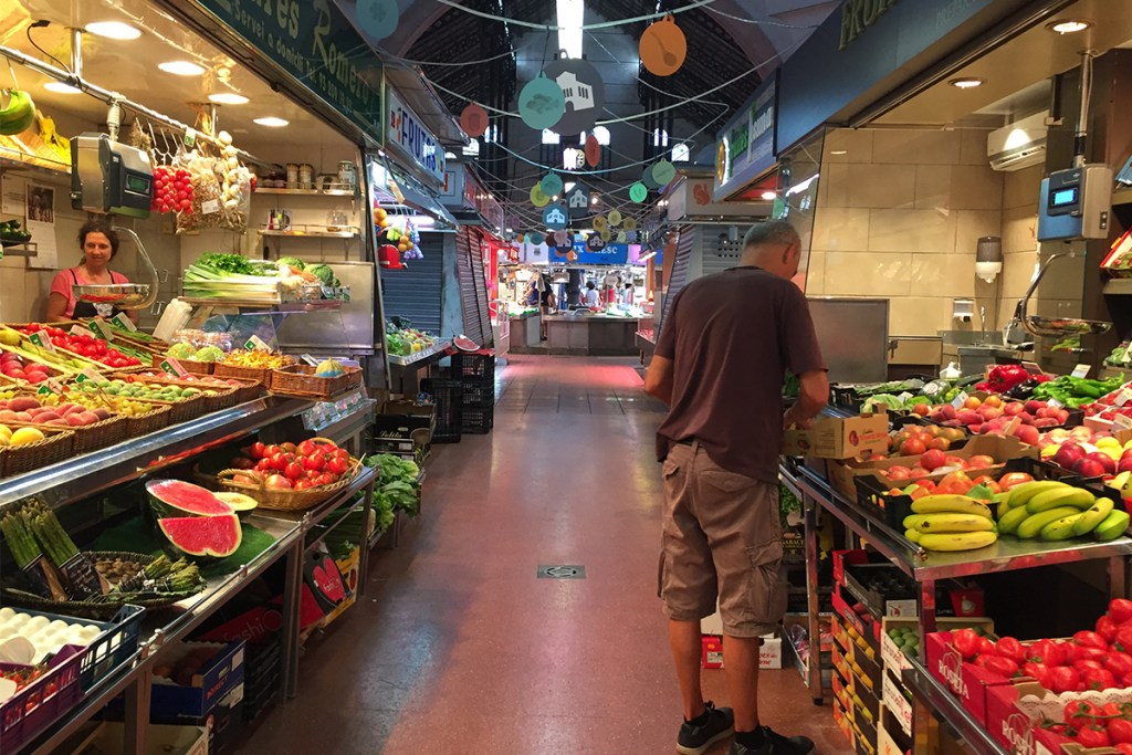 Inside Mercat Galvany, a church turned food market.