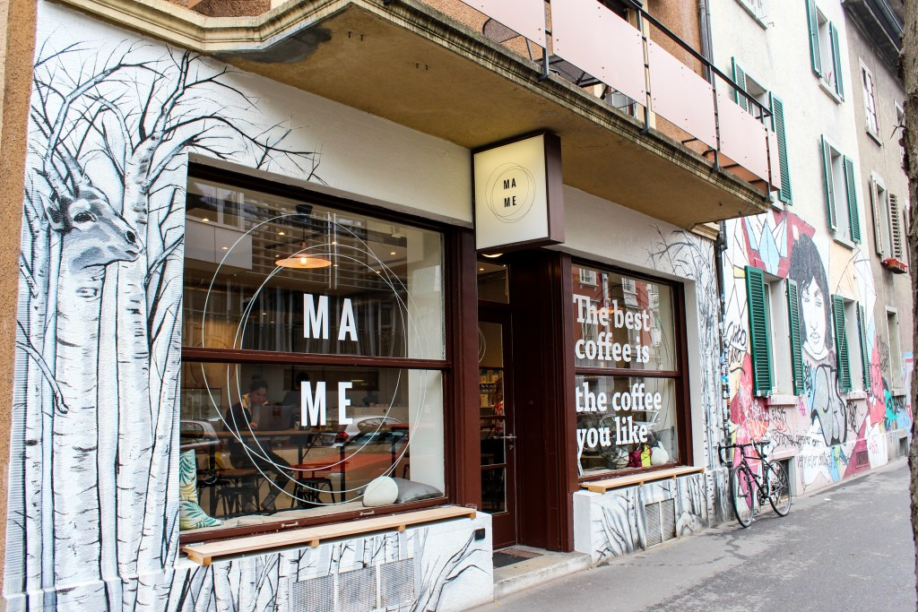Entrance to the MAME Coffee Shop on Josefstrasse , Zurich