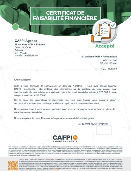 certificat de faisabilité