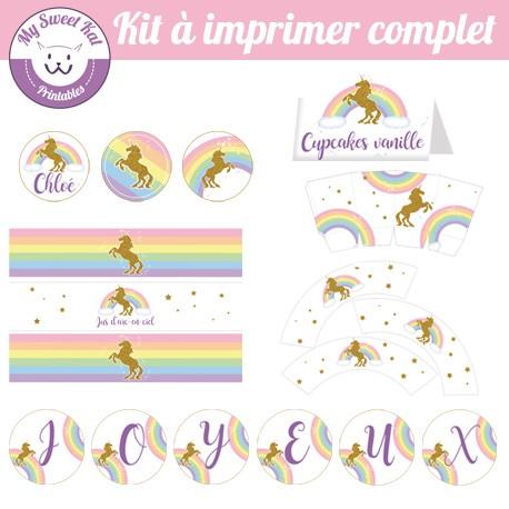 kit a imprimer pour sweet table theme licorne