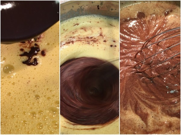 Carefully whisk in the chocolate mixture until just combined.