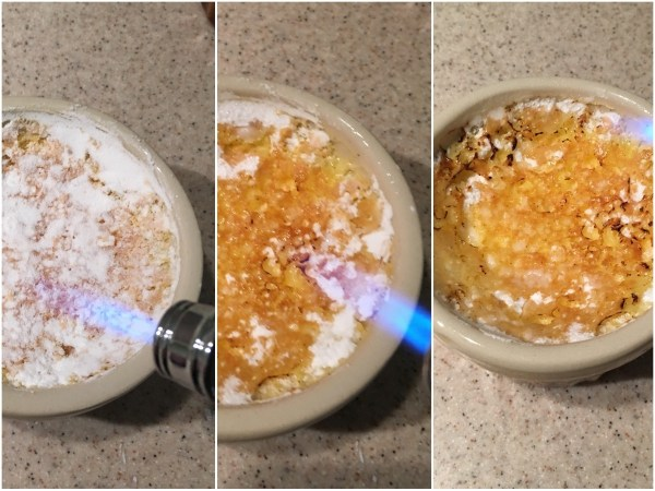 """Before serving, sprinkle about ½ tbsp of powdered <a href=""""http://amzn.to/2fkjbll"""" target= """"_blank"""">erythritol</a> over each creme brulee. Use a blow torch to caramelise it. Erythritol will not caramelise as well as sugar, but it will do the job well enough to offer a similarly crispy experience."""