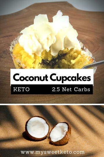 These keto cupcakes are high in fat but low in carbs. 2.5 net carbs. #keto #ketogenic #ketodiet #ketodessert