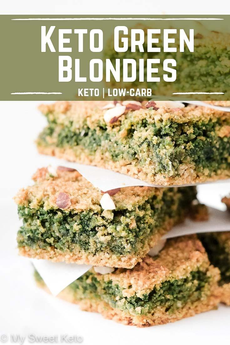Keto green blondies recipe by My Sweet Keto. Your buddies are going to be amazed at the green color, I'm sure. It's what happens when you combine baking soda and sunflower seeds … We're doing some baking science here! #keto #ketogenic #ketodessert