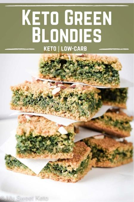 Keto Green Blondies recipe by My Sweet Keto. Your buddies are going to be amazed at the green color, I'm sure. It's what happens when you combine baking soda and sunflower seeds … We're doing some baking science here! #keto #ketogenic #ketodiet #ketodessert