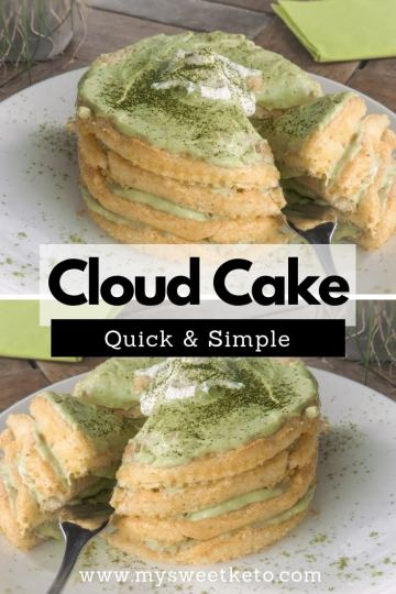 Keto Cloud Cake Recipe. I'm offering you one of the simplest keto recipes: Keto Cloud Cake. The combination of any type of dairy and matcha is a perfect match. #keto #ketodiet #cloudcake #ketodessert #recipe