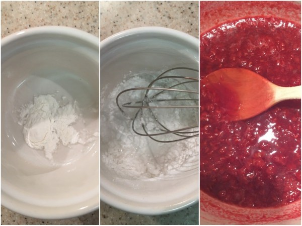 Combine xanthan gum, coconut flour, and water in a small bowl, then add the mixture to the raspberries, stirring until combined. <br><br> Once the raspberry sauce has thickened a bit (after about 2 minutes), transfer it to the fridge to cool completely. Begin making the vanilla ice cream once the sauce is cooled.