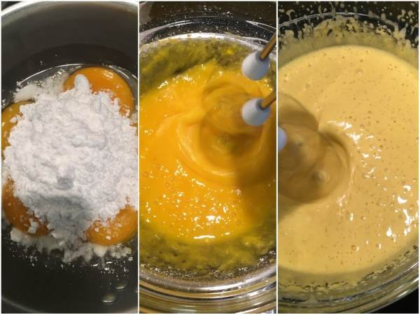 In a large heatproof bowl, mix together egg yolks, erythritol, and vanilla.  <br><br> In a medium-size sauce pan, bring some water to boil and reduce the heat until the water is simmering.  Suspend the bowl with yolks over the water, making sure the bowl is not touching the water. Using an electric mixer, beat continuously for 4-5 minutes until the mixture is pale and creamy. Let the mixture cool down in the fridge before you continue. <br><br>Mix in the vodka (optional).