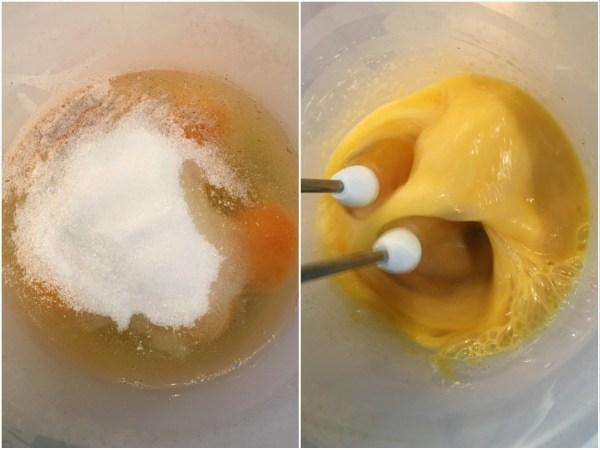 Using an electric mixer, mix together 5 eggs, 1 tbsp. psyllium husks, eryhtritol, and baking powder.