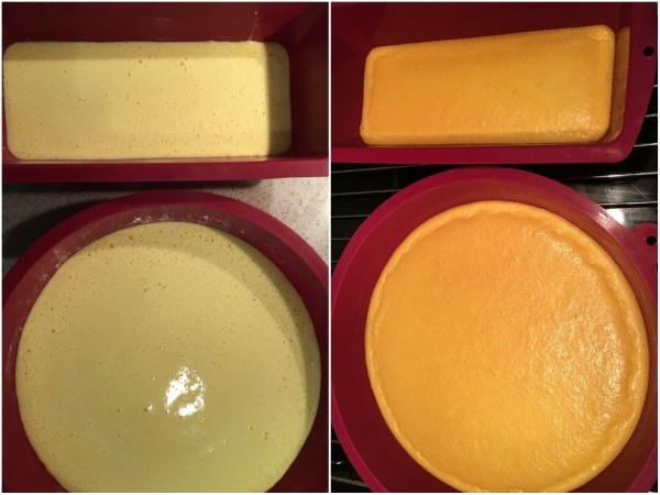 Pour around 3/4 of the mixture into the round baking pan for the crust. Pour the rest into the smaller pan for the decoration strips. Bake for 10 minutes. A toothpick, inserted into the middle, must come out clean. While the two are cooling down, prepare the filling. When cooled down, keep the crust in the pan.