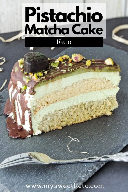 This a low carb/keto birthday pistachio matcha cake. You will want to eat too much of it if you're a pistachio and matcha fan like me. #keto #ketocake #cakerecipe #recipe #ketogenic #lowcarb