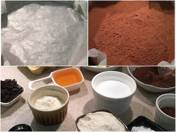 Heat the oven to 325°F (160°C).  <br> Get all the ingredients ready. <br>Grease a 10-inch springform pan with some butter (<i>I usually line it with parchment paper as well, just to be on the safe side</i>) and dust with 2 tbsp. of cocoa powder.
